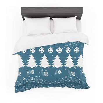 "Famenxt ""Merry Merry Christmas"" Blue White Holiday Illustration Featherweight Duvet Cover"