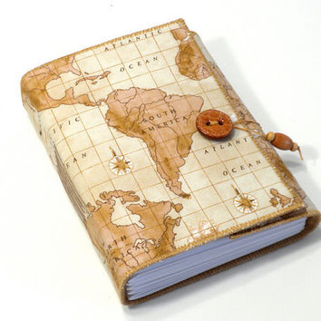 World Travels- Fabric Journal - Wanderlust Travel Journal