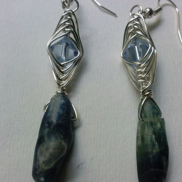 Blue Kyanite Silver Wire Wrap Earrings- High Quality Handmade Jewelry/ Herringbone Wire Weave with Diamond Shape Faceted Crystal Blue Beads