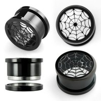 Pair of Black Anodized Surgical Steel Lazer-cut Spiderweb Screw-fit Plugs (00...