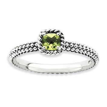 Sterling Silver Stackable Expressions Checker-cut Peridot Antiqued Ring