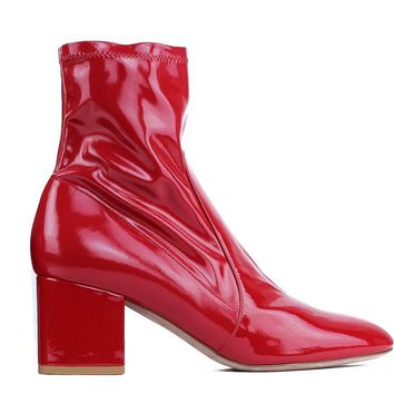 Valentino Garavani Womens Stretch Patent Hot Red Ankle Boots