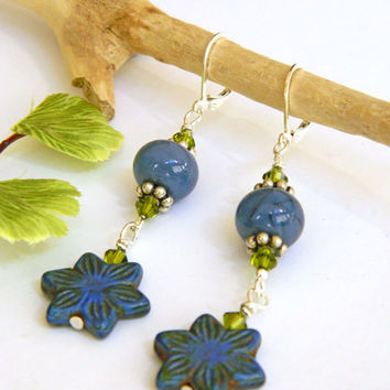 Blue Flower Earrings Handcrafted Lampwork Short Green Crystal Beaded