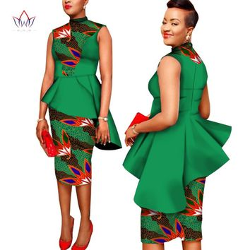 Custom African Clothing 2 Pieces Set Print Wax Coat Top and Skirt Set