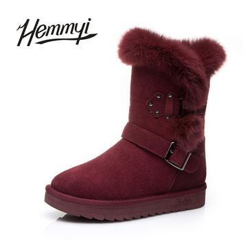 Hemmyi 2017 new winter boots woman shearling to keep warm snow boots genuine leather mid-calf boot for female bota feminina