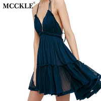 MCCKLE Woman Fashion Dress Backless Beach Holiday Lace Spaghetti Strap Sexy Dress Short Mini Sweet Pleated Boho Dress vestidos