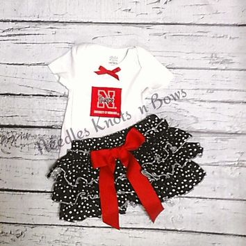 Girls Nebraska Cornhuskers Bloomer Outfit, Baby Girls Coming Home Outfit, Game Day