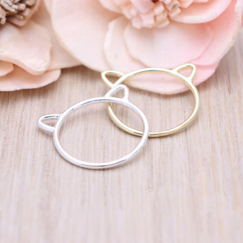 925 sterling silver Cat ears ring / Cat ring in silver, gold
