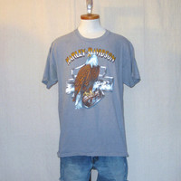 Vintage 1990 HARLEY DAVIDSON 3d EMBLEM Motorcycle Epic Eagle California Graphic Large Rare Cotton T-Shirt
