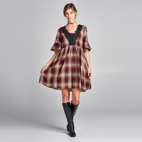 Plaid Dress Lace Trim Dress