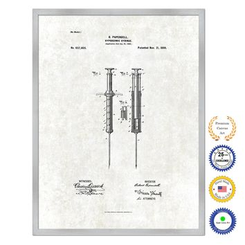 1899 Doctor Hypodermic Syringe Antique Patent Artwork Silver Framed Canvas Print Home Office Decor Great for Doctor Paramedic Surgeon Hospital Medical Student