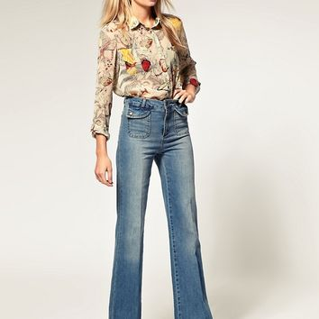 ASOS 70 s High Waist Flare Jeans at asos.com
