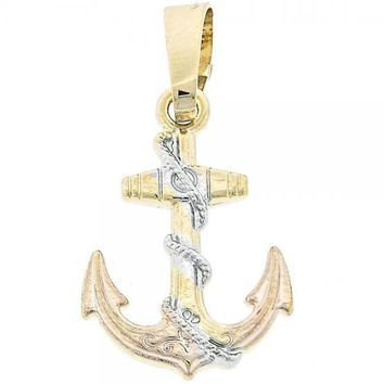 Gold Layered Fancy Pendant, Anchor Design, Golden Tone