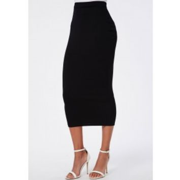 Longline Jersey Midi Skirt Black - Skirts from MISSGUIDED