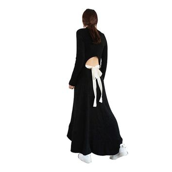 Autumn Black Knitting Maxi Dress Women Sweater Long Sleeve Backless Lace up Casual Dresses Female Knitted Clothes