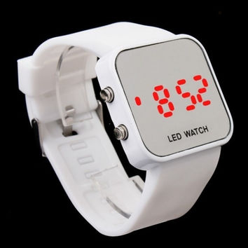 Sport Style Mirror Surface Silicone LED Digital Watch for Women and Men  H8176 = 1652345860