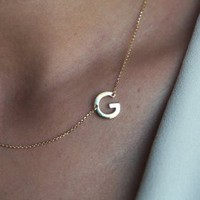 14k Gold initial Necklace, A Necklace, Custom Initial Neckla | Capucinne