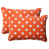 Pillow Perfect 496528 Outdoor Polka Dot Corded Oversized Rectangular Throw Pillow in Orange, Set of Two