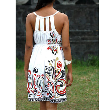 White Casual Dress in Tribal Printed, Summer Mini Dress, Sundress