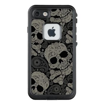 Sugar Skull Crossbones Pattern LifeProof® FRĒ® iPhone 7 Case