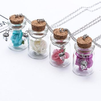 Women Cute Mini Glass Flower Floating Wishing Bottle Pendant Necklace Jewelry