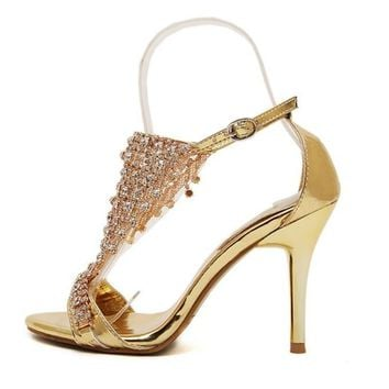 High quality wedding bridal party shoes crystal rhinestone strap ankle strap thin high heels sandal pumps gold silver