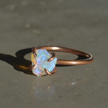 Ethiopian Opal Rough Nugget Ring on Copper Size 6 1/2