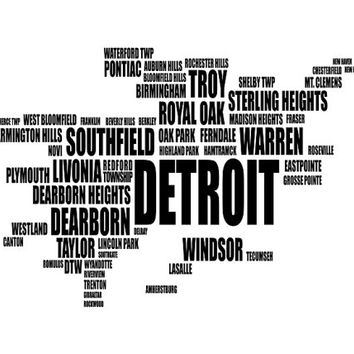 Detroit Typography Map, Michigan Text Art Print