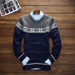 Mens Casual Snowflake Knit Sweater