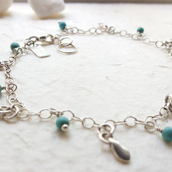 Beach Babe - Sterling Silver and Turquoise Handmade Anklet Bracelet - Beach Boho - Hand Stamped Jewelry - Christina Guenther
