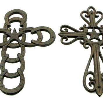 Cast Iron Horseshoe Star Crosses -Set Of 2