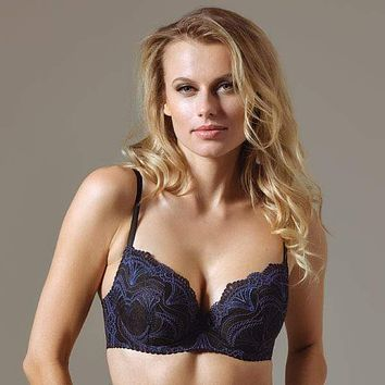 Lightly Lined Lace Plunge Bra Lavinia's Blue Moonlight