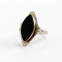 Antique 10k White and Yellow Gold Onyx Marquise Ring- Art Deco 1920s Etched Filigree Fine Jewelry Hallmarked Agnini & Singer