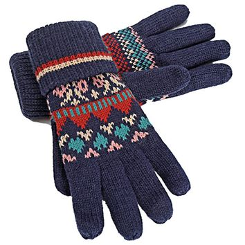 Women's Knitted Gloves with Roll Up Cuffs for Winter