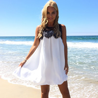 Babydoll Lace Shift Dress In Black & White