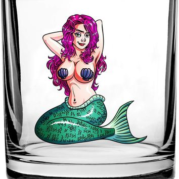 Sexy Mermaid Adult Cartoon Design - 3D Color Printed Scotch Whiskey Glass 10.5 oz
