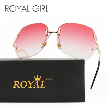 Royal Girl Unique Oversized Rimless Sunglasses Women Original Designer Gradient Vintage Eyeglasses Female Oculos UV400 ss138