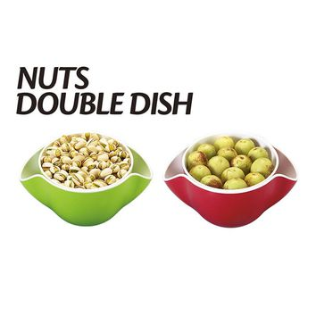 ZORASUN Decorative Nuts Double Dish Plastic Melamine Snack Bowl Dish 2 In 1 Fruit Split Double Bowl for Candy Snack Nut Holder