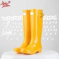 DCK7YE Hellozebra Women Rain Boots England Light knee High Rain Boots Women Candy Color Water