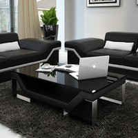Ultra Modern Black Leather Sofa Set - Opulentitems.com