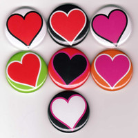 Hearts 7 one inch pinback/badges/buttons  by orangedracula on Etsy