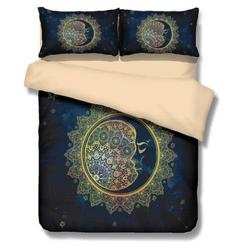 Fanaijia Design printing 3d Mandala Sun Bedding Set queen Size Bohemia Duvet Cover With Pillowcase Black Dark Quilt Cover king