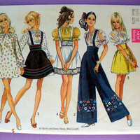 Vintage 1960's Mini Dress, Mini Skirt, Blouse and Pants Misses' Size 10 Bust 32.5 Simplicity 8208 Sewing Pattern