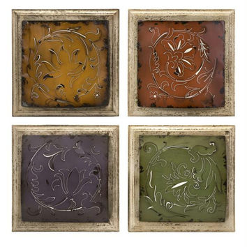 4 Wall Art Tiles - Metal Cutout Design