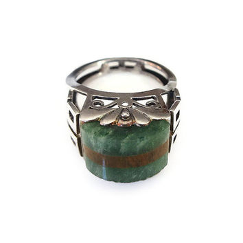 Poland Sterling Ring, Quartz Stone, Chrysoprase, Tigers Eye, Sterling Silver, Ornate Scrolled, High Relief, Polish Jewelry, Vintage Ring