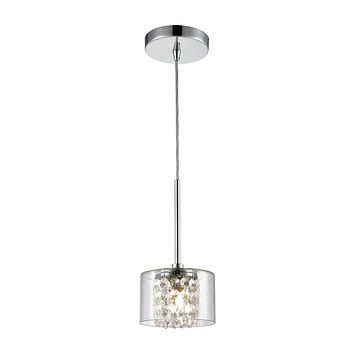 Springvale 1-Light Mini Pendant in Polished Chrome with Clear Glass and Crystal