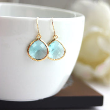 Aquamarine Blue Gold Glass Drop Dangle Earrings. Modern Everyday. Aqua and Gold Wedding. Bridesmaids Gifts Earrings. Bridal Gift Set, Mom.