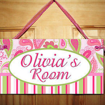 Kids Door Sign Pink Paisley Girls Bedroom Nursery Personalized Name Sign DS0380