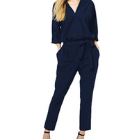 Dark Blue Sleeve A-Line Jumpsuit