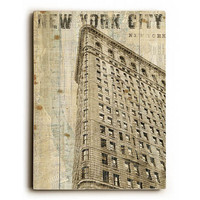 Vintage NY Flat Iron by Artist Michael Mullan Wood Sign
